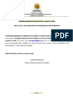 Resultado Preliminar Barra de Sao Miguel