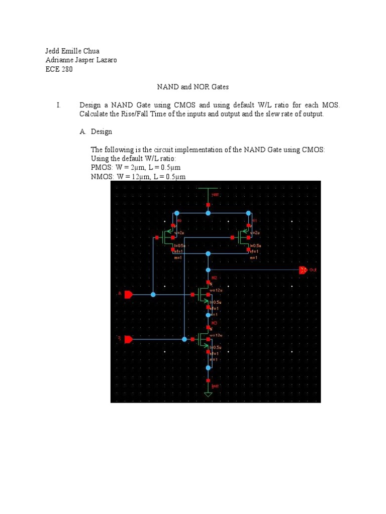 Nand Nor Gates Cmos Mosfet Circuit Diagram Using Gate