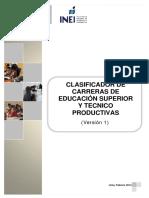 ClasificadorCarrerasEducacionSuperior y TecnicoProductivas