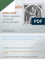 Expresión Escrita. Tipos, Requisitos y Manejo de Los Párrafos.