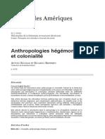 Anthropologies hégémoniques et colonialité