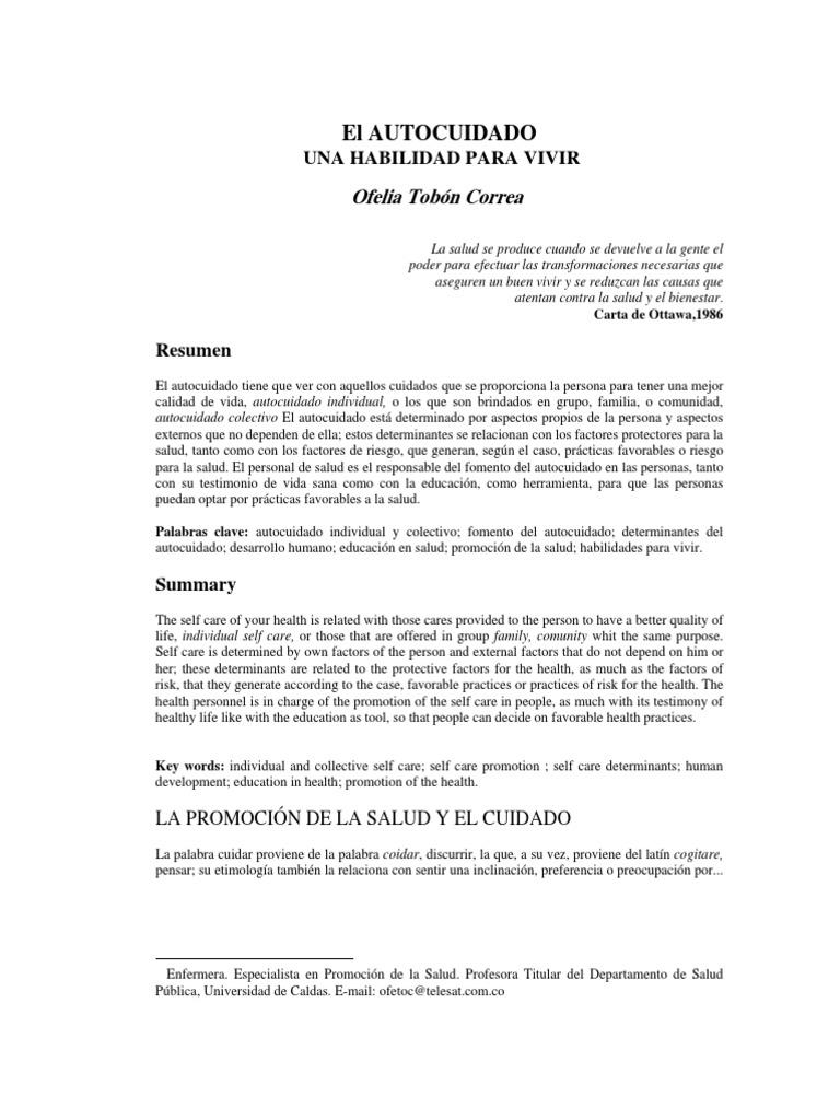 El autocuidado-Tobón Correa