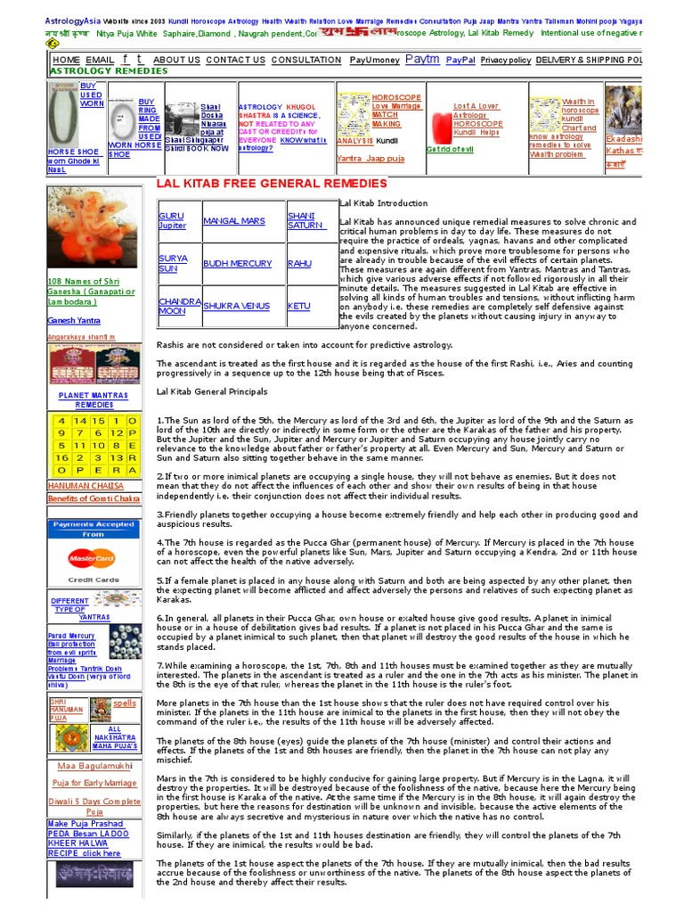 Lal Kitab General Remedies Astrology , Best Astrology