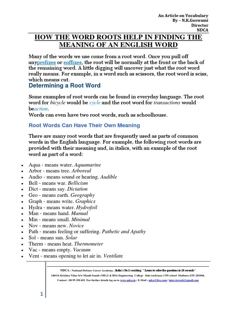 Word Roots Lexical Semantics Linguistics
