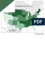 Rural Population by State 2011-2015 - US Census Bureau - Saettone