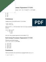 Soal Tentang Persamaan Trigonometri UN 2014