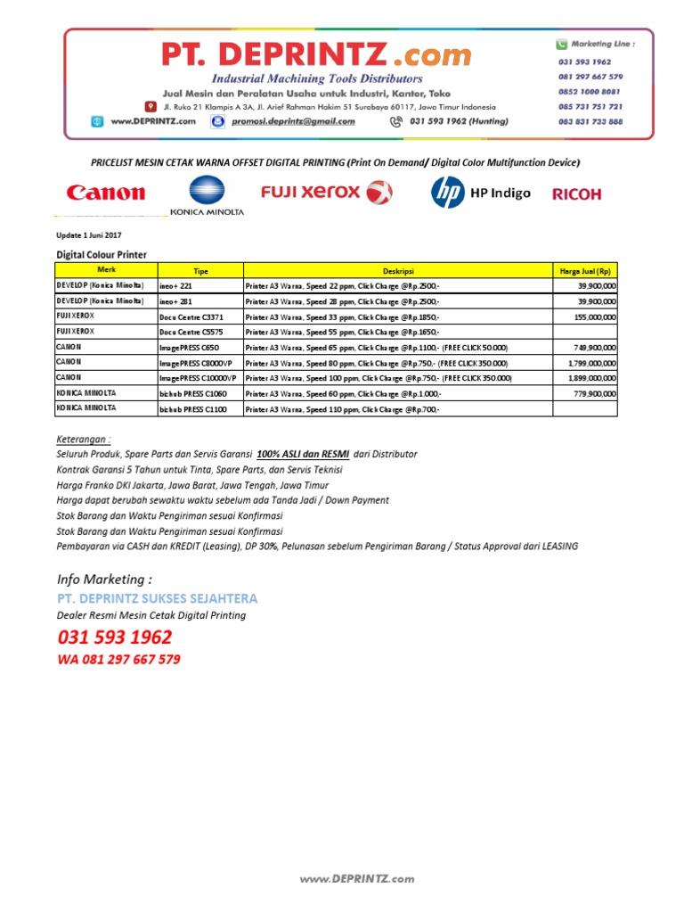 Daftar Harga Mesin Cetak Warna Offset Digital Printing 010617