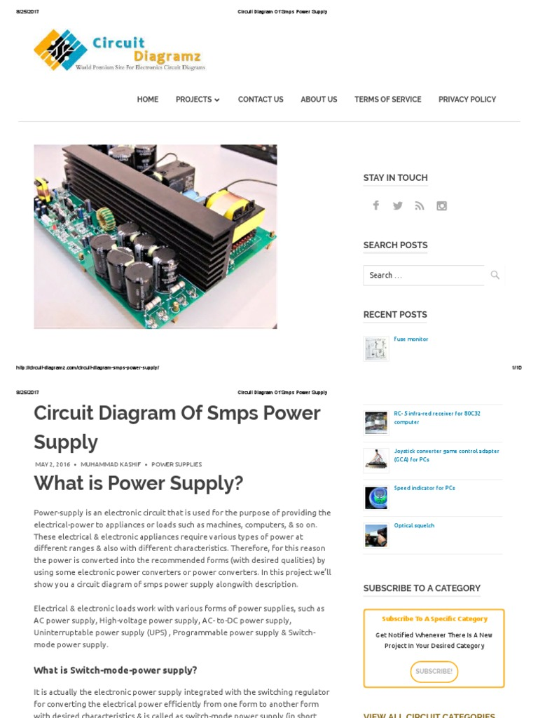 Circuit Diagram of Smps Power Supply is an Electronic Circuit