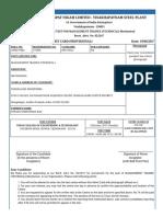 Steel Plant Admit Card