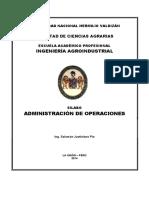 Silabo de Administracion de Operaciones 2016 II