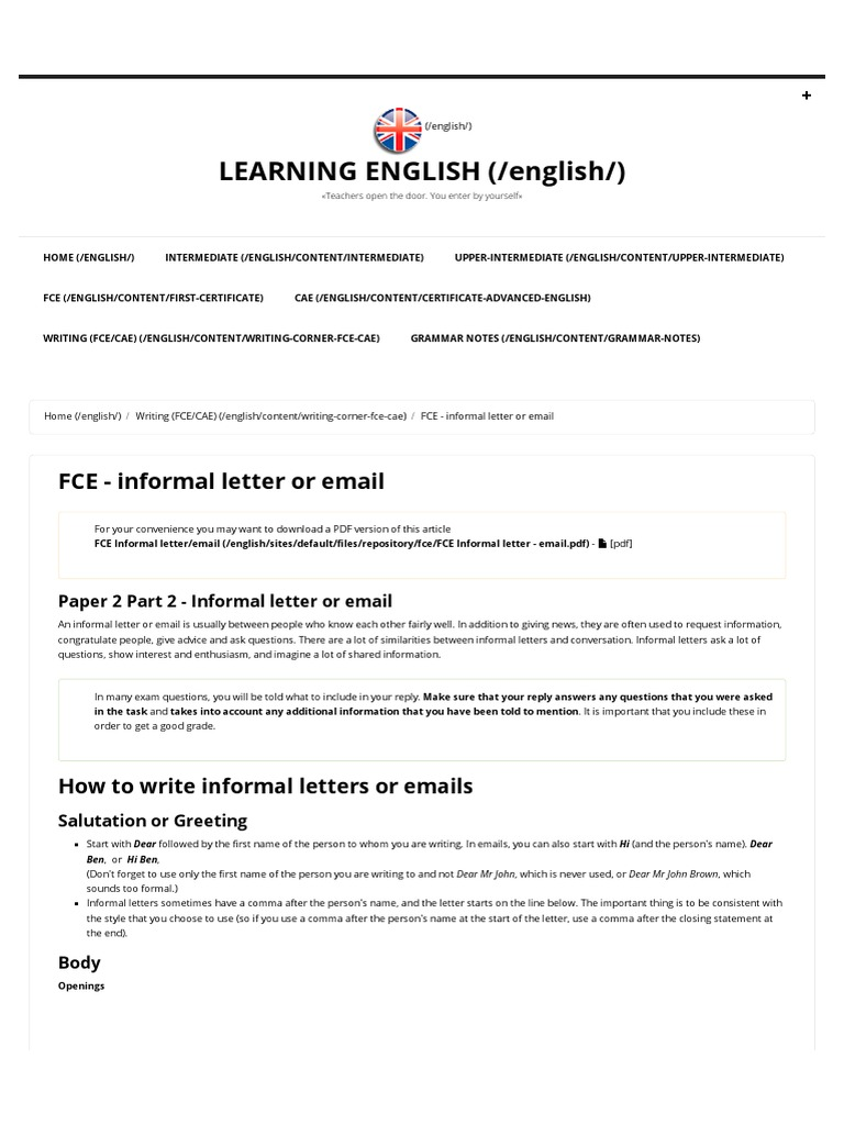 Fce informal letter or email learning english test fce informal letter or email learning english test assessment grammar kristyandbryce Gallery