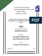 Análisis de Ecuaciones Para Obtener Velocidades Con Registros Geofísicos de Pozos