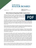 Official Statement - Niagara Falls Water Board - August 25, 2017