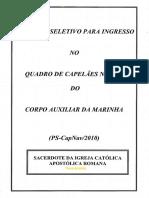 Marinha 2010 Capnav Primeiro Tenente Capelao Catolico Prova