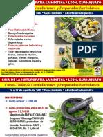 CASA NATUROPATIA LEON Curso-Taller de Formulaciones y Preparados Herbolarios Agosto 2017