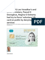 EU and FG Leo Varadkar's and Other Ministers, Pascal O Donoghue, Regina O Doherty Had Try to Force 'Voluntary' ID Card on Public by Denying Services