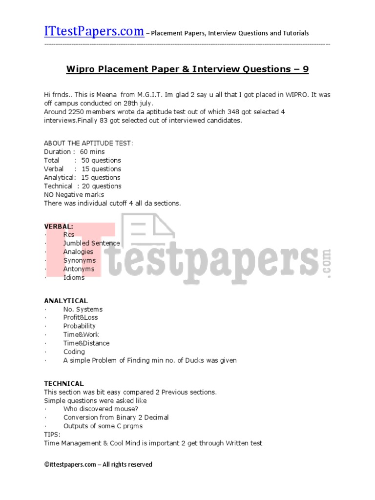 130 wipro placement papers and interview questions 9pdf 130 wipro placement papers and interview questions 9pdf electronics telecommunications engineering thecheapjerseys Choice Image