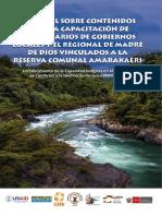 Material sobre Contenido para la Capacitación de Funcionarios de Gobiernos Locales y el Regional de Madre de Dios vinculados a la Reserva Comunal Amarakaeri
