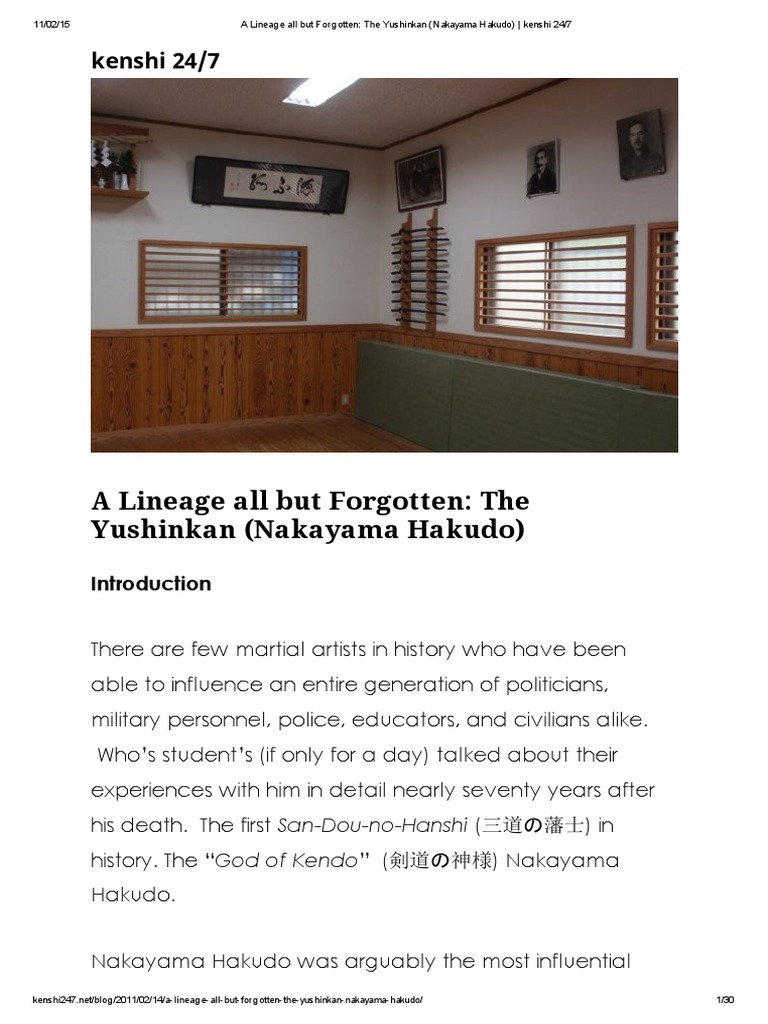 A Lineage All but Forgotten_ the Yushinkan (Nakayama Hakudo
