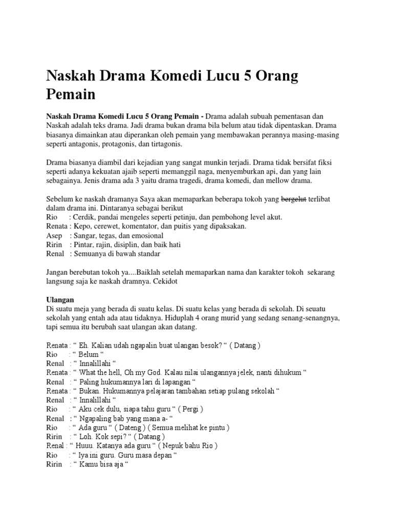 Naskah Drama Komedi Lucu 5 Orang Pemain Docx