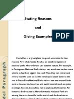 Stating Reasons & Giving Examples