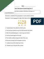 Prepositions Underlining P 1 Beginner