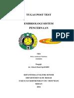 Tugas Post Test Embriologi