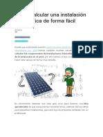 Cómo Calcular Una Instalación Fotovoltaica de Forma Fácil