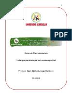 Taller Preparatorio Para El Examen Parcial, Macroeconomia.