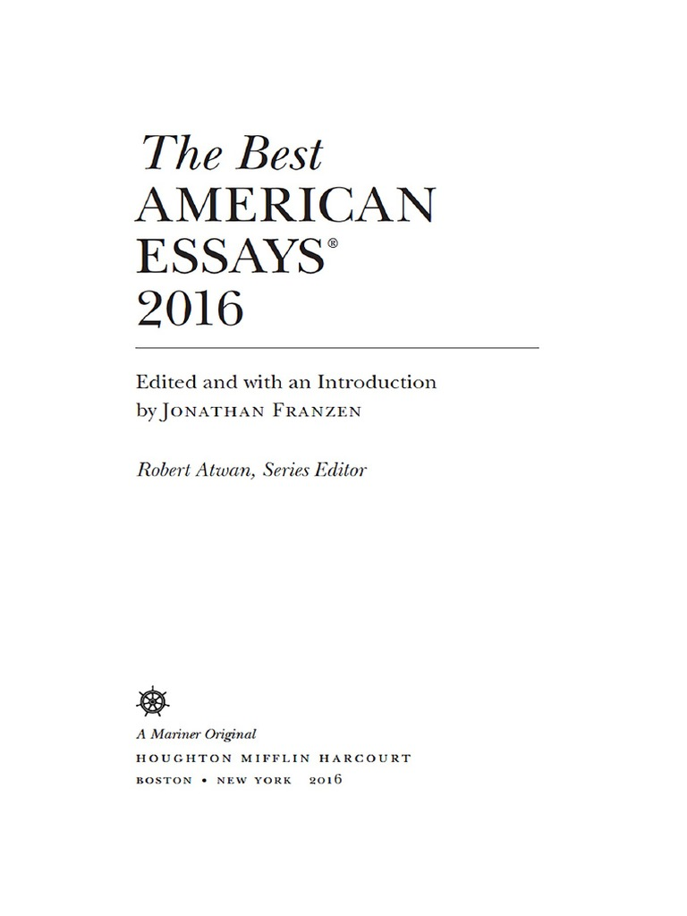 the best american essays 2016 by jonathan franzen 1 1 ralph