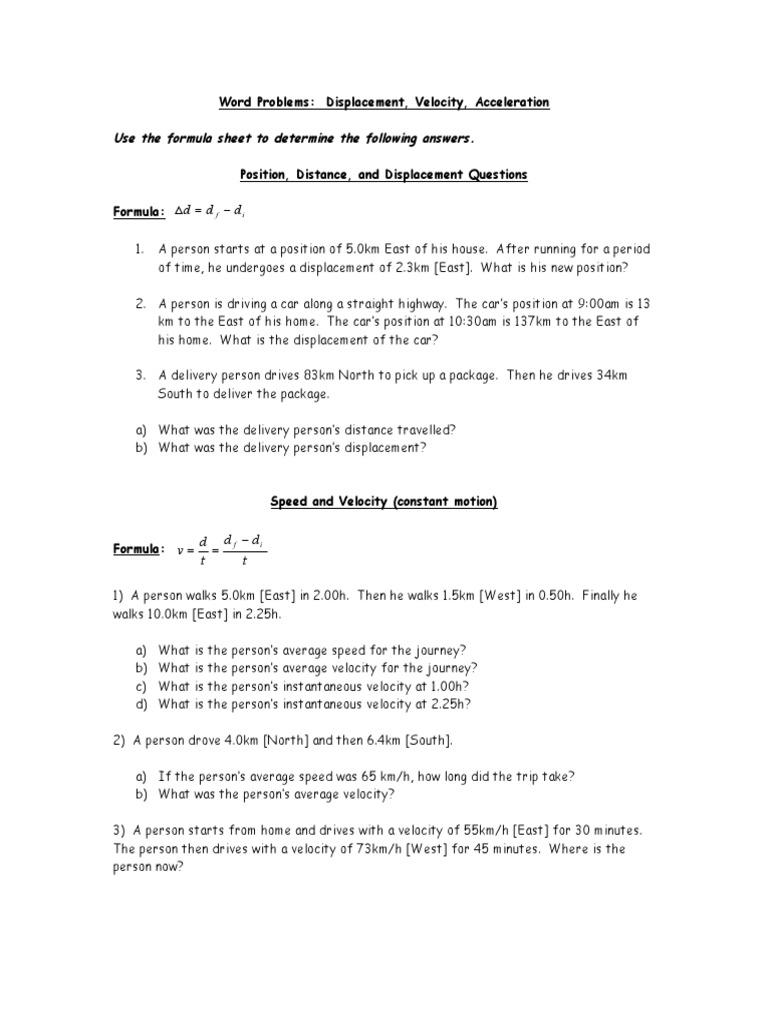 4 Word Problems Doc Velocity Speed