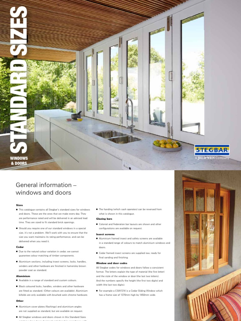 sc 1 st  Scribd & Stegbar Windows Doors Standard Sizes Brochure | Window | Door