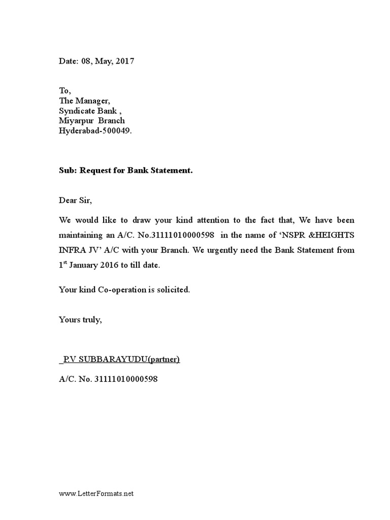 bank statement request letter to the bank manager