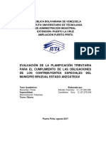 EVALUACIÓN DE LA PLANIFICACIÓN TRIBUTARIA PARA EL CUMPLIMIENTO DE LAS OBLIGACIONES DE LOS CONTRIBUYENTES ESPECIALES DEL MUNICIPIO BRUZUAL ESTADO ANZOÁTEGUI