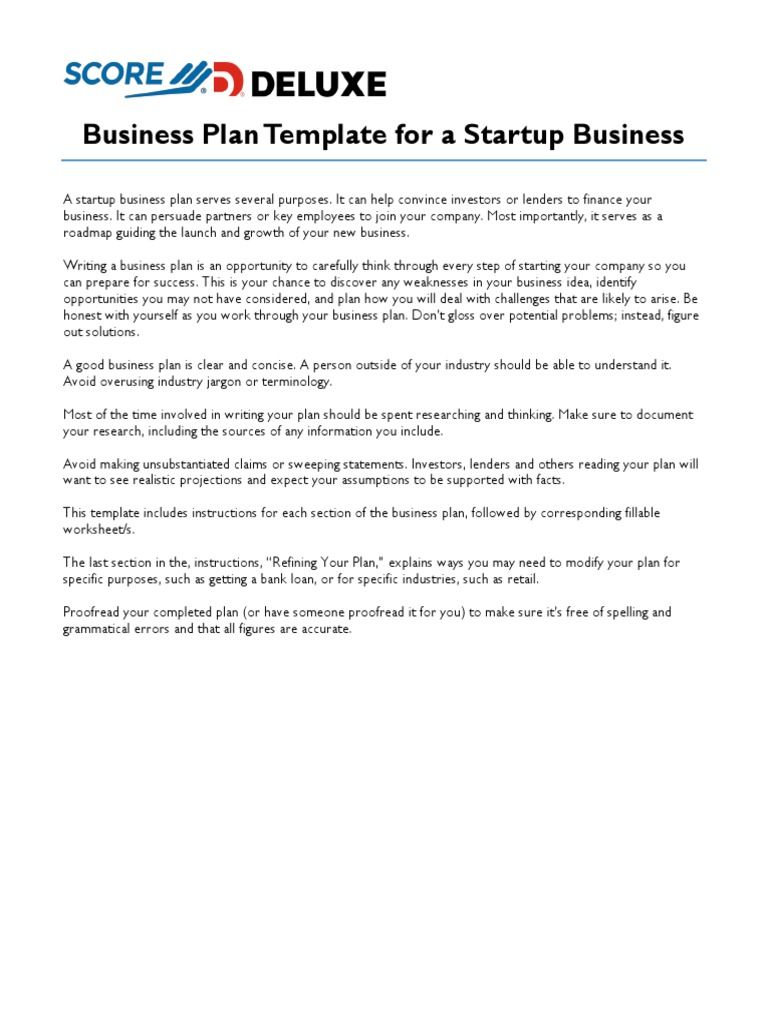 Score Deluxe Startup Business Plan Template Income