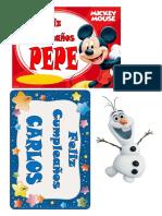 Papel de Azucar Mickey y Olaf