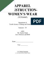 Apparel Construction- Women s Wear