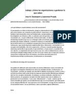 Conocimiento de Trabajo Como Las Organizaciones a Gestionar Lo Que Saben Davenport y Prusak
