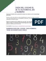 Numerología Del Coche El Destino de Tu Automóvil en Base a Su Número