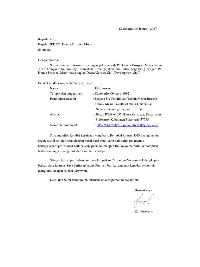 Surat Lamaran Pt Honda Prospect Motor Docx