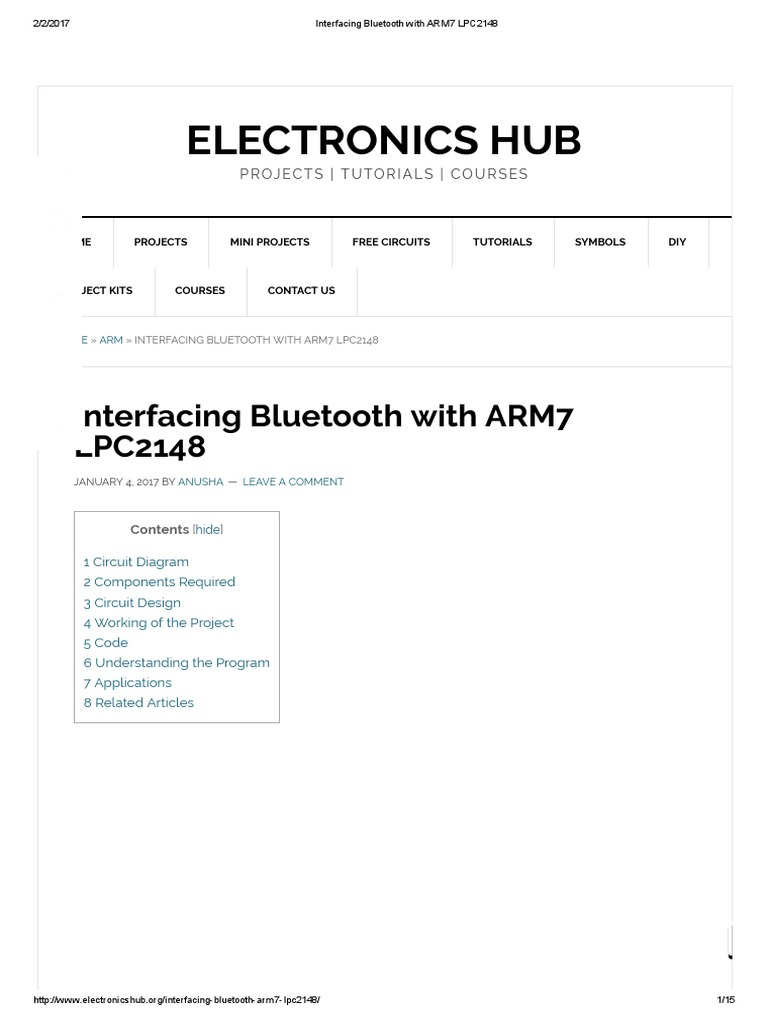 Interfacing Bluetooth With Arm7 Lpc2148 Microcontroller Latest Circuit Design Buy