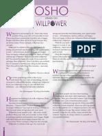 Osho Speaks on Willpower Wonderful Article