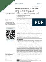 Maternal and neonatal outcomes of placenta previa and placenta accreta