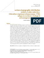 Comparison of geographic distribution models of white-tailed deer Odocoileus virginianus (Zimmermann, 1780) subspecies in Mexico