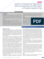Comparsion of Intravenous Lignocaine, Tramadol and Keterolac for Attenuation of Propofol Injection Pain