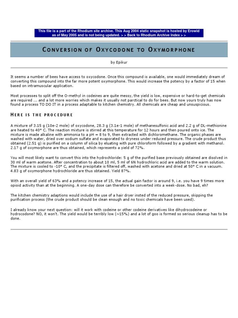 Oxycodone to Oxymorphone | Oxycodone | Chemistry