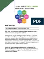 melissa dyas final reflections on the edtechteam teacher leader certification