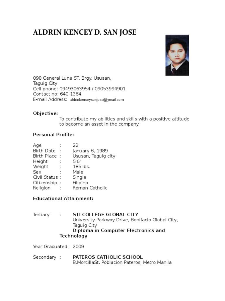Resume - Aldrin Kencey San Juan | Metro Manila (12 views)