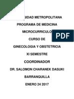 _carta Descriptiva Curso de Ginecologia y Obstetricia Xi Semestre Enero de 2017 Grupo A_2c B_2c c y d