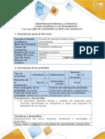 Guía de Actividades y Rubrica de Evaluación Refexión Inicial Identificar Entornos de Conocimiento, Unidades y Actividades a Desarrollar.